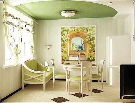 дизайн проект кухни-столовой, дизайн интерьера жилого дома, Владивосток