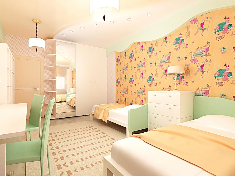 дизайн интерьера спальни,дизайн проект квартиры, 3D модель, Владивосток