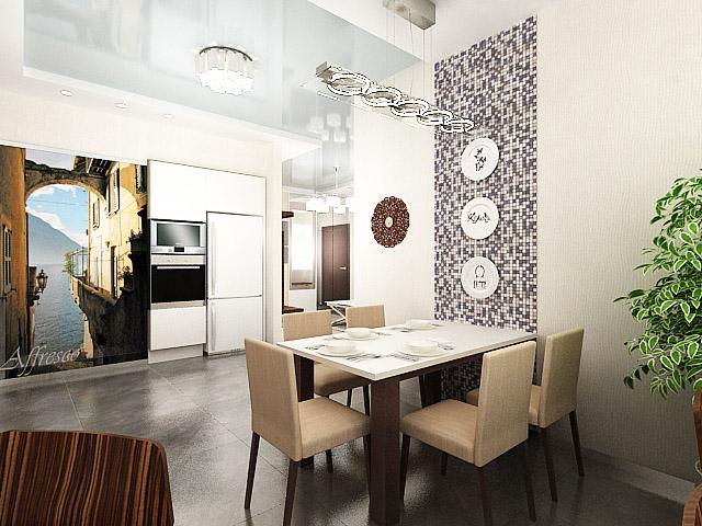 дизайн интерьера кухни-столовой, дизайн проект квартиры, Владивосток