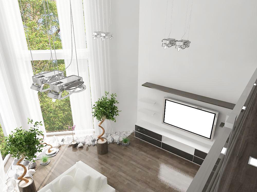 дизайн проект коттеджа, дизайн интерьера гостиной, 3D модель