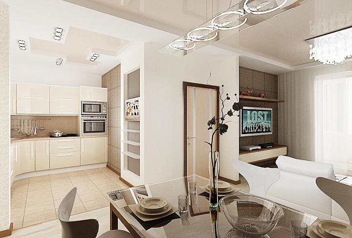 дизайн проект кухни-столовой, 3D модель, дизайн интерьера Владивосток