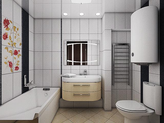 дизайн интерьера ванной, 3D модель