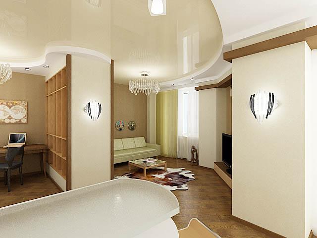 дизайн-проект гостиной, дизайн интерьера, 3D модель, Владивосток