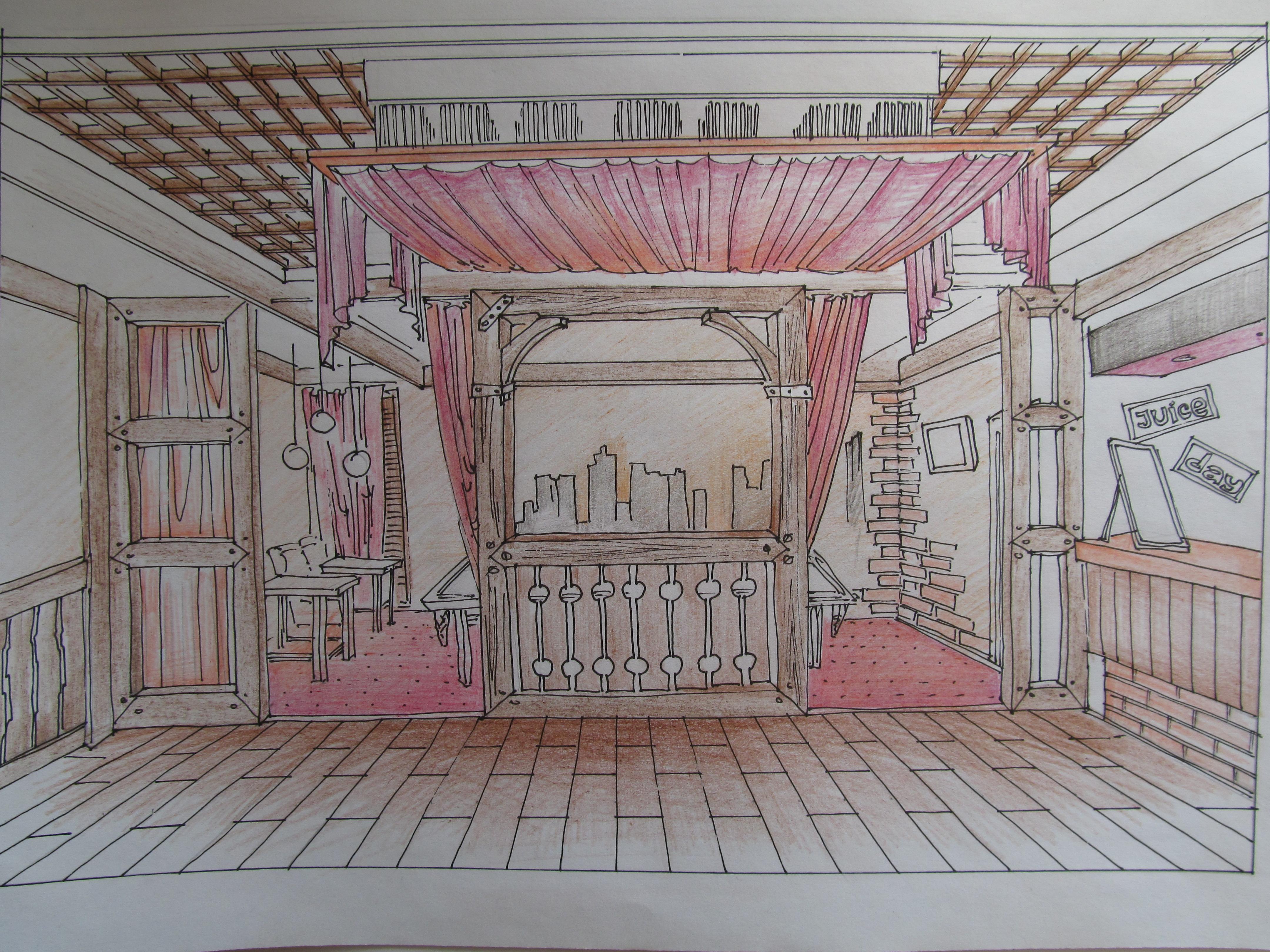 стилистическое решение, дизайн интерьера кафе, эскиз, Владивосток