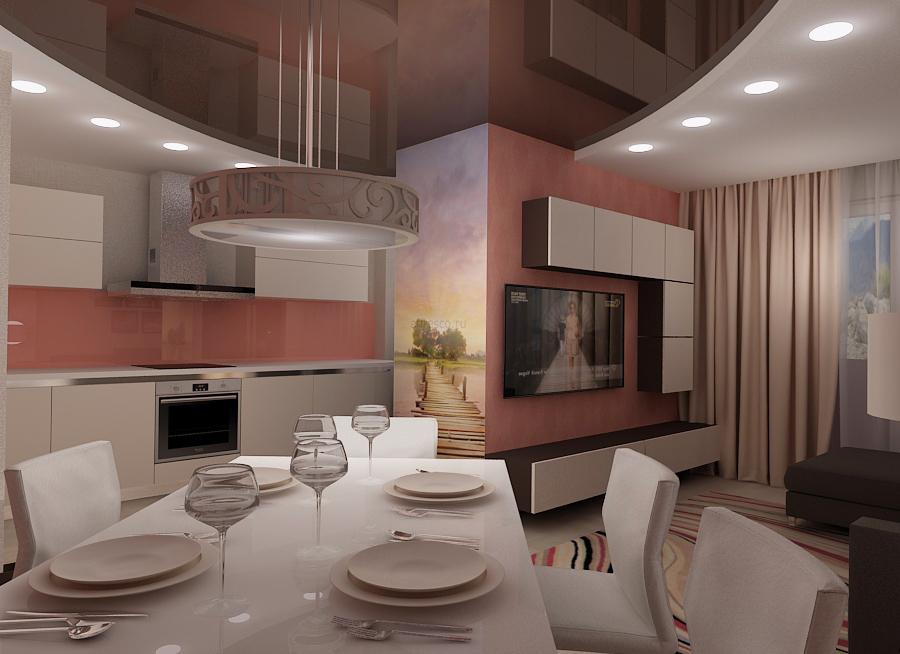 дизайн интерьера кухни-столовой, 3D модель, дизайн проект квартиры, Владивосток