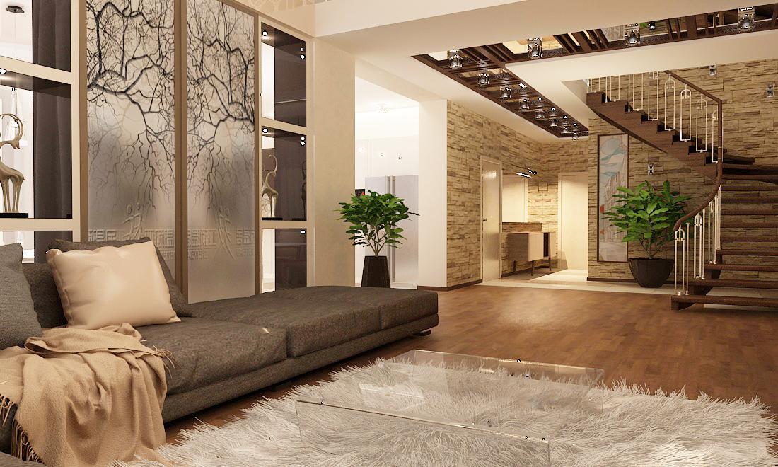 дизайн интерьера коттеджа, дизайн проект жилого дома, 3D модель