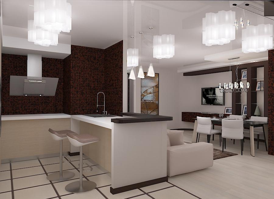 дизайн проект кухни-столовой, 3D модель, дизайн интерьера квартиры Владивосток