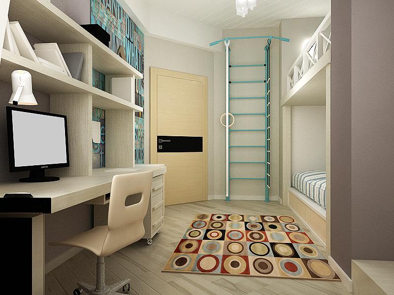 дизайн интерьера детской, дизайн проект квартиры, 3D модель