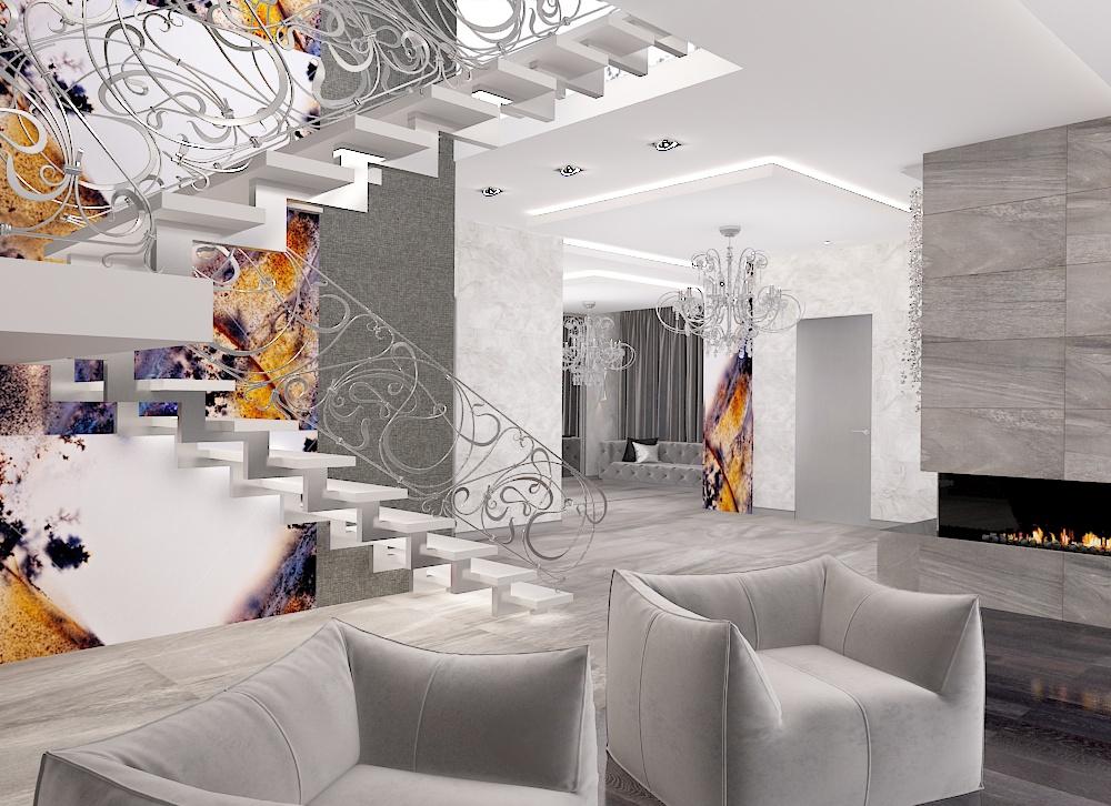 дизайн интерьера каминного зала,дизайн проект жилого дома, Владивосток