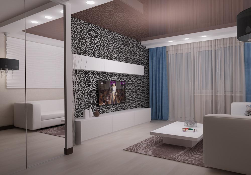 дизайн проект гостиной, дизайн интерьера, 3D модель, Владивосток