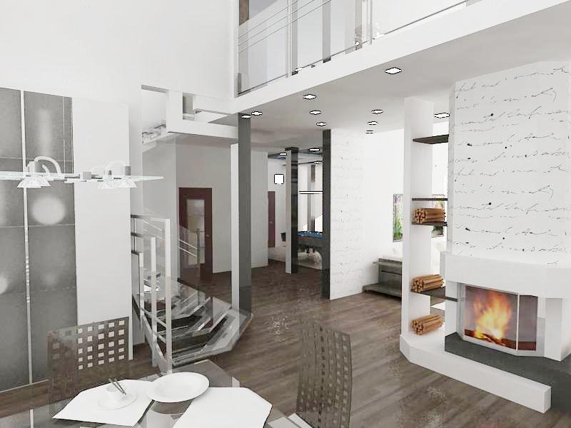 дизайн проект жилого дома, дизайн интерьера каминного зала, Владивосток