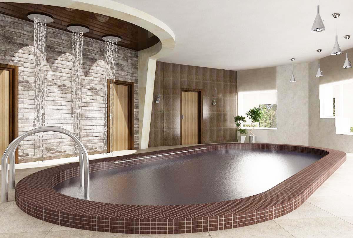 дизайн интерьера бассейна, 3D модель, дизайн проект коттеджа, Владивосток